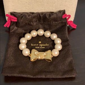 Kate Spade Pearl Bracelet with Gold Bow